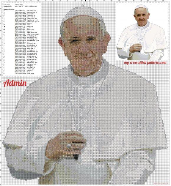 Le Pape Francis nouveau grille point de croix gratuite (click to view)
