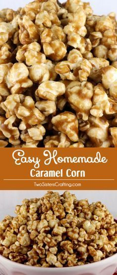 This Easy Homemade Caramel Corn tastes amazing ... buttery and caramel-y just the way it should. And there is no corn syrup required for this Caramel Popcorn recipe! This is a much requested popcorn treat in our family. Pin this yummy and easy to make dessert for later and follow us for more great Popcorn Recipes.