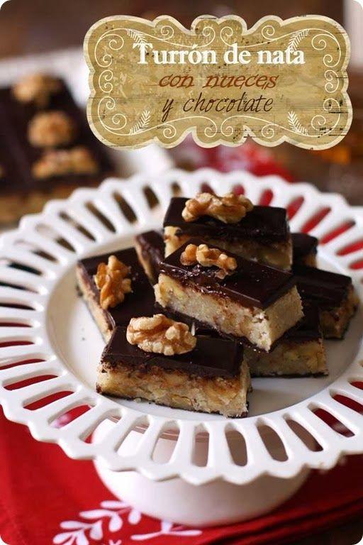 Turrón de nata con nueces y chocolate