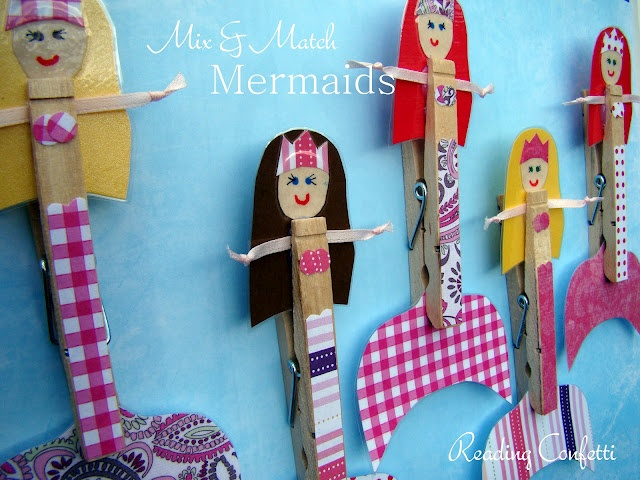 Mix and Match Clothespin Mermaids: Crafts Ideas, For Kids, Clothespins Crafts, Clothespins Mermaids, Natural Crafts, Mixed Matching, Reading Confetti, Mermaids Crafts, Matching Clothespins