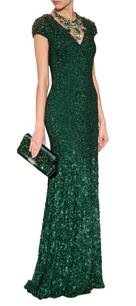 A regal choice for your most special evening events, Jenny Packham's emerald green gown features intricate allover embellishment and a flawless fitted and flared silhouette #Stylebop