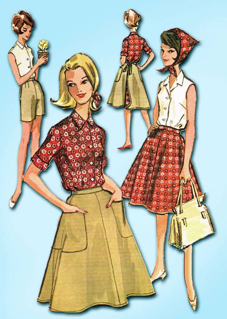 1960s Vintage McCalls Sewing Pattern 6730 Misses Shirt Shorts and Skirt Sz 32 B