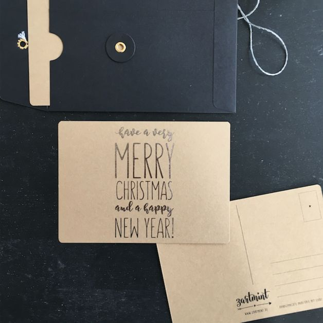 """Postkarte Weihnachten Kraftpapier & Silber """"Have a very merry christmas and a happy new year!"""""""