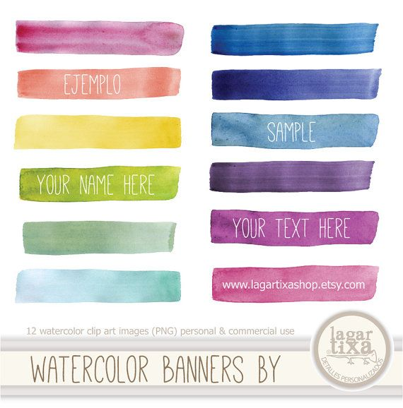Watercolor Banners Strokes PNG transparent background rainbow pink purple blue celest acqua green yellow red Background Blog by Lagartixa on Etsy, 3,02€
