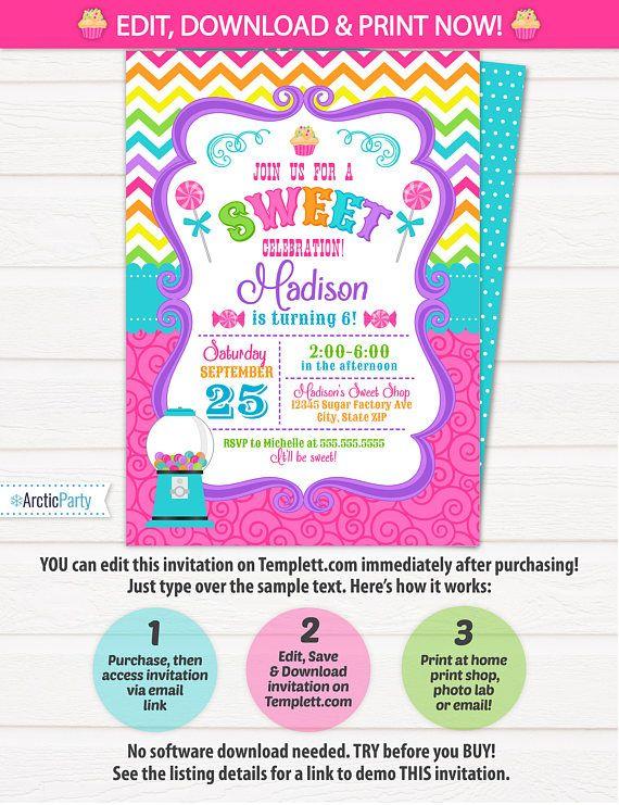 Candyland Invitations Candy land Birthday Invitation Candy $7.99 #CandylandInvitations #CandylandBirthdayInvitation #CandyInvitations #Corjl