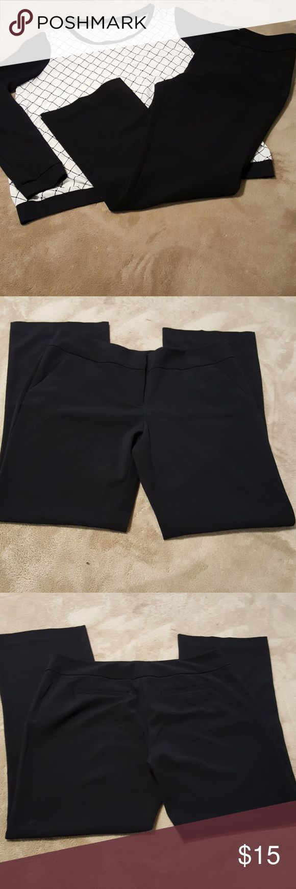 "New York & Co. Black Slacks/Pants. Sz. 10P. Very nice black dress pants/slacks/trousers by New York & Company. No holes, pilling, pulls, or stains. See pics for approx measurements. Back ""pockets"" are faux. Pockets on front side are real. Very nice pants in very good used condition. Size 10 Petite. New York & Company Pants"