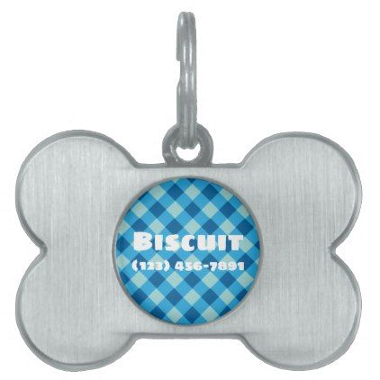 Silver Dog Bone Pet ID Tag light blue Plaid Design - home gifts ideas decor special unique custom individual customized individualized