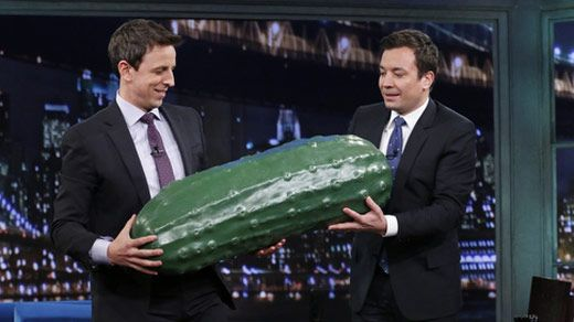 Jimmy Fallon hands off Late Night giant pickle to Seth Meyers