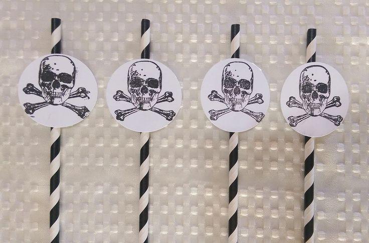 Pirate Straw Scull and Cross Bone 20 Black Stripped Paper Straws