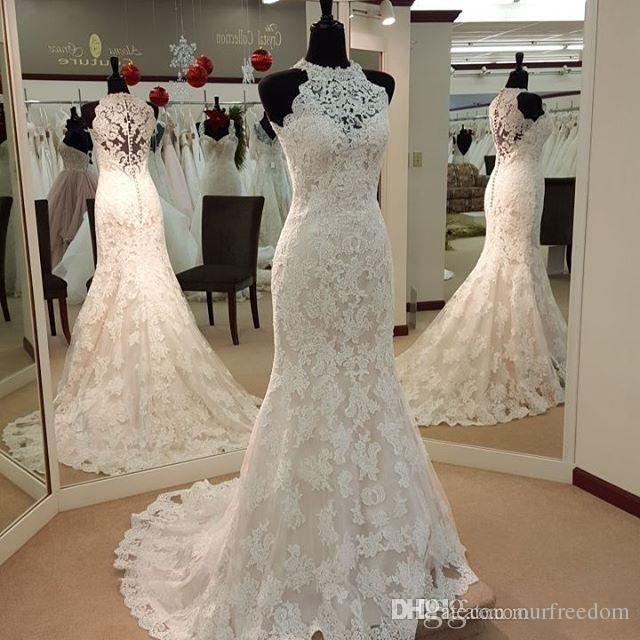 2016 Vintage Full Lace Mermaid Wedding Dresses High Neck Sweep Train Custom Made Garden Western Country Bridal Wedding Gowns Cheap Plus Size