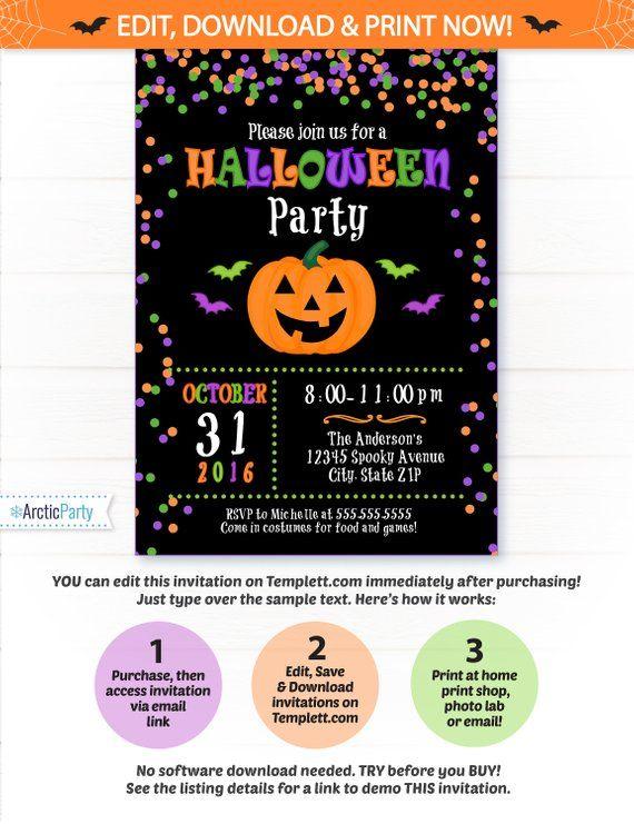 Halloween Party Invitation - Halloween Invitation - Kids Halloween