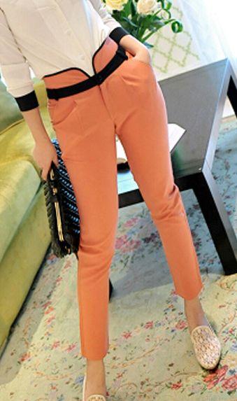 High waisted chiffon pencil pants 8066 Orange