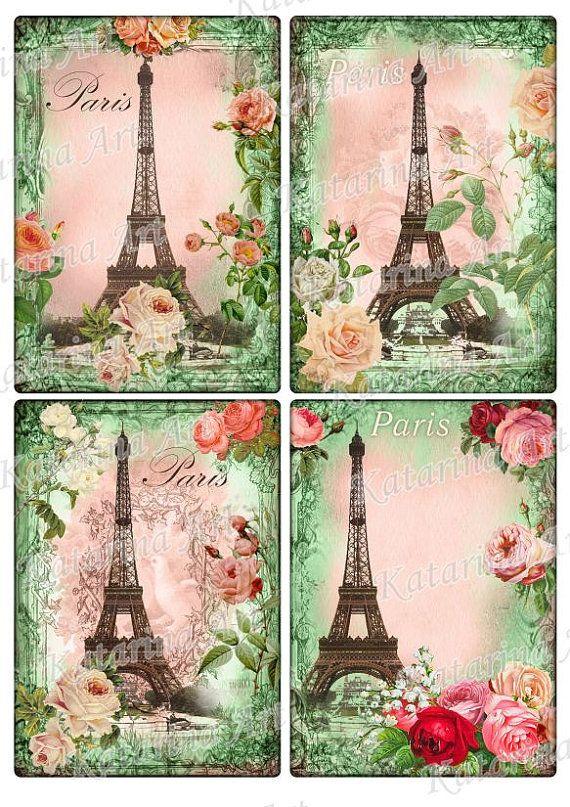 Eiffel tower spring roses Vintage Paris Style by KatarinaArt, $3.89