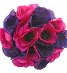 Silk Cerise Pink & Purple Anemone Bridesmaid Wedding Posy