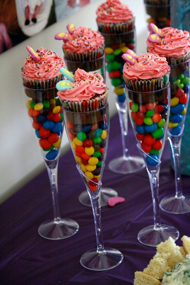 cupcakes in dollar store champagne glasses. Instead of M&M's maybe TJ's Chocolate Covered Sunflower Seeds.