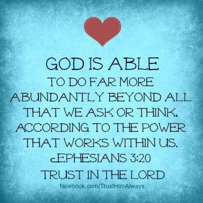 God is able..always~~...
