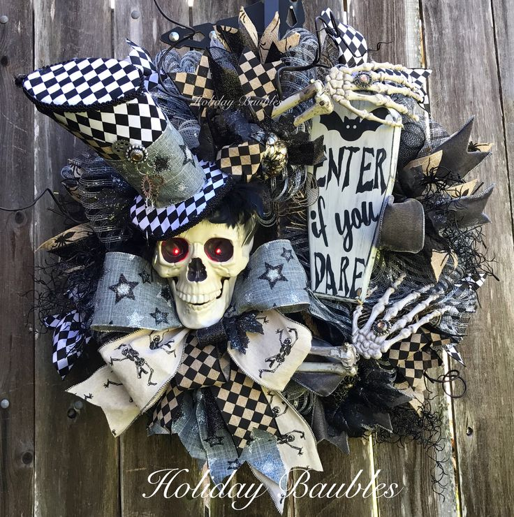 Rock Star Mr Bones 💀 Halloween Wreath Halloween Door