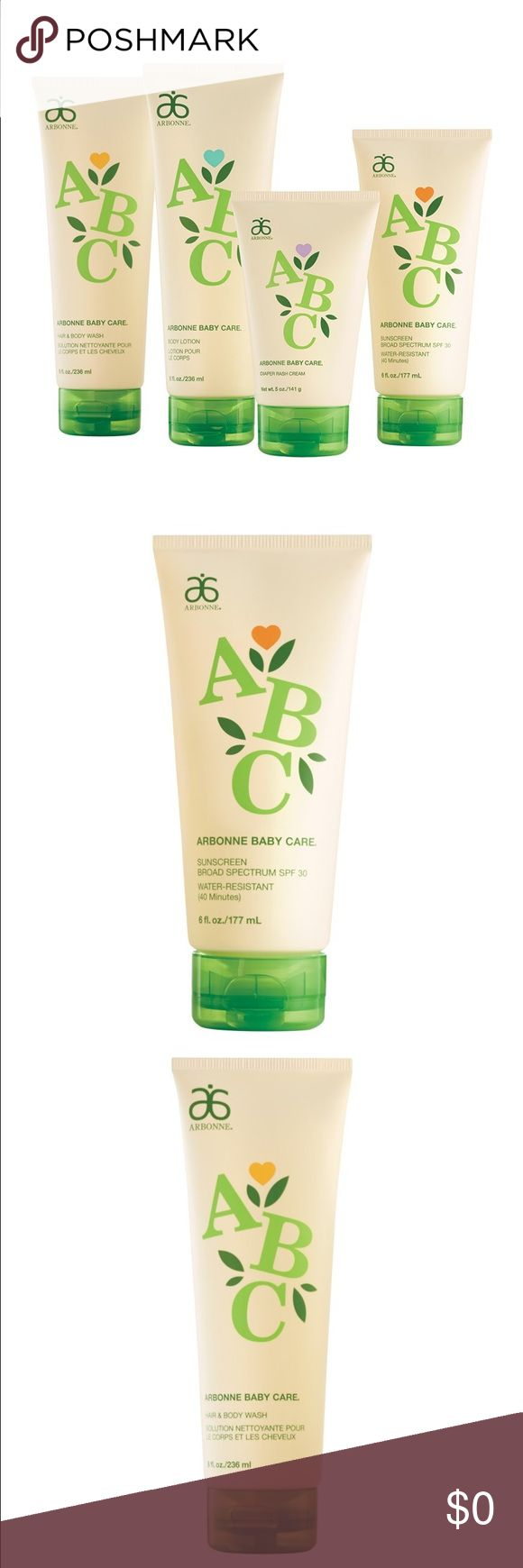 Arbonne ABC Baby Care Line, Truly everyone can use Summer is coming so this description will be for the sunscreen only and then I will comment the rest  of the products 😎🌞 Comment for prices 💵. Formulated with antioxidants, vitamins and soothing botanicals, our water-resistant sunscreen protects, nurtures and moisturizes baby's delicate skin. Developed with sensitive skin in mind, this unscented formula easily glides on while providing broad spectrum protection. Arbonne Other