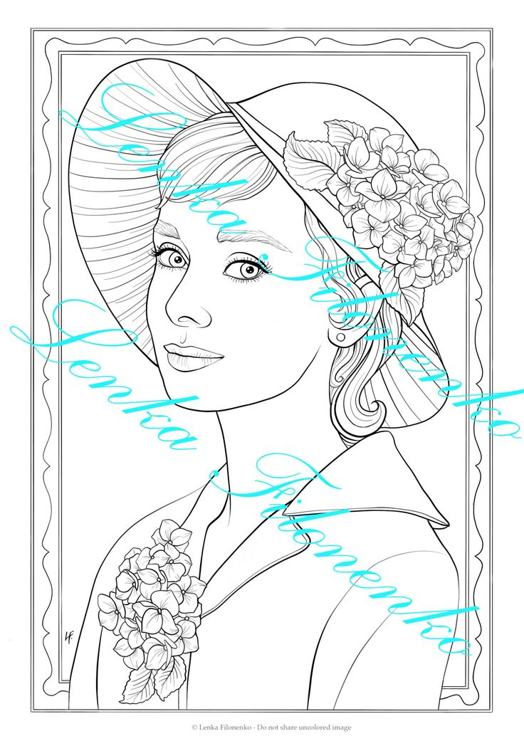 Coloring page for adults, Coloring page, Audrey - line art ...