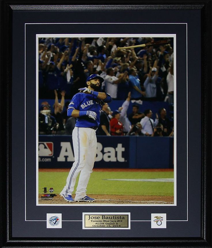 Jose Bautista Toronto Blue Jays Bat Flip Home Run 2015 AL Finals Colour 16x20 Photo Framed $189.99 plus tax