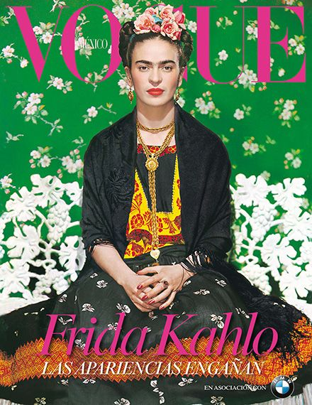 """Better late than never. Nearly 60 years after her death, artist Frida Kahlo will be a Vogue cover girl. Vogue Mexico used photographer Nickolas Muray's iconic 1939 portrait of Kahlo taken in New York for its November 2012 cover to coincide with the November 22 opening of ""Appearances Can Be Deceiving: The Dresses of Frida Kahlo"" at the artist's eponymous museum."": ""Better late than never. Nearly 60 years after her death, artist Frida Kahlo will be a Vogue cover girl. Vogue Mexico used photographer Nickolas Muray's iconic 1939 portrait of Kahlo taken in New York for its November 2012 cover to coincide with the November 22 opening of ""Appearances Can Be Deceiving: The Dresses of Frida Kahlo"" at the artist's eponymous museum."""