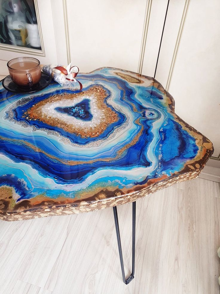 Blue table epoxy resin geode table coffee table exclusive