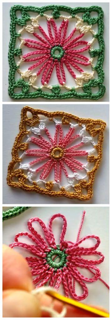 Crochet Flower Square - Free Crochet Patterns ✔