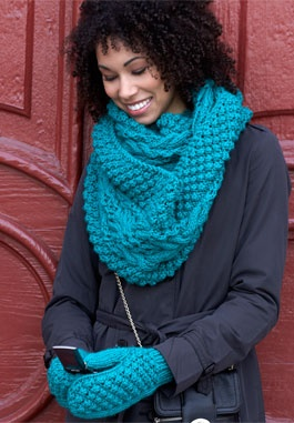 King Street Cowl & Mittens.  Bulky yarn on 6.5 mm