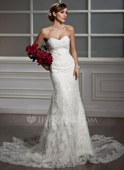 Wedding Dresses - $242.99 - Mermaid Sweetheart Chapel Train Satin Tulle Wedding Dress With Lace (002012605) http://jjshouse.com/Mermaid-Sweetheart-Chapel-Train-Satin-Tulle-Wedding-Dress-With-Lace-002012605-g12605