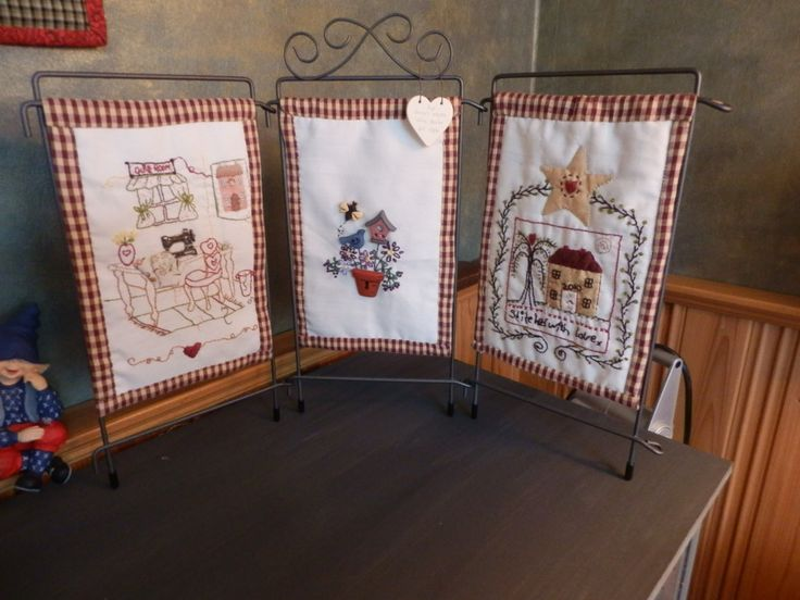 Three little stitcheries made into three little quilts.