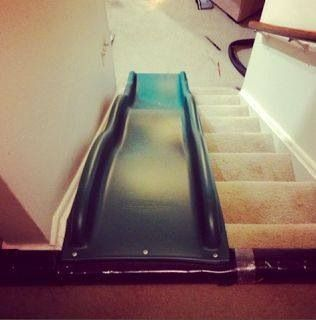 Slide on the stairs for the kiddos