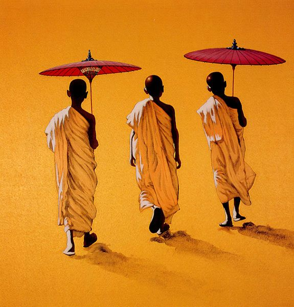 Three Novices and Two Umbrellas by Min Wae Aung