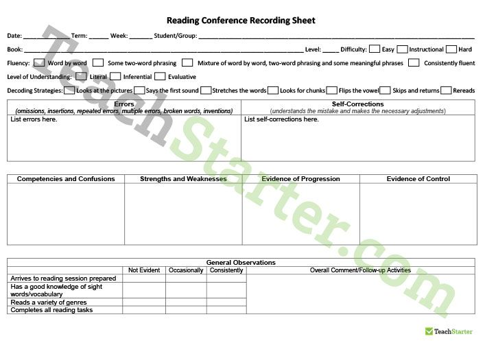 Teaching Resource: An editable recording sheet to use during reading conferences across all grades.