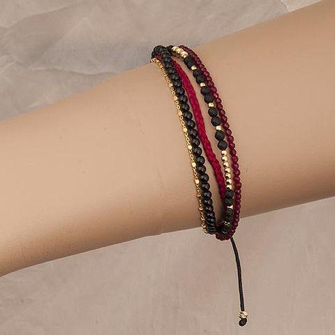 Handmade Black Burgundy Bracelet Agate