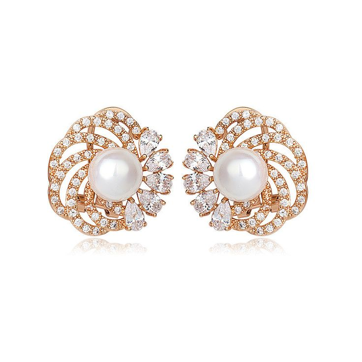Find More Clip Earrings Information About Rose Gold Plated Aaa Sea S Pearl Luxury