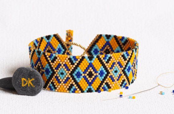 bracelet perles, bracelet sur mesure, bracelet peyote, bracelet Miyuki delicas, bracelet ethnique, bracelet orange, fêtes des mères