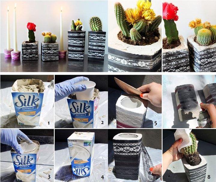 84 best macetas images on pinterest cement planters for Macetas de cemento