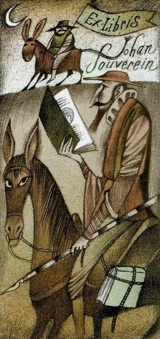 Don Quixote Bookplate for Johan Souverein::by Adolf Born.. .