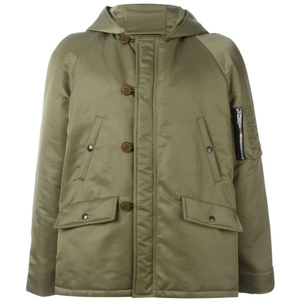 Saint Laurent - bomber parka coat - men - Cotton/Nylon - 52 ($2,150) ❤ liked on Polyvore featuring men's fashion, men's clothing, men's outerwear, men's coats, green, mens green sport coat, mens short trench coat, mens green parka, mens parka coats and mens long parka coats