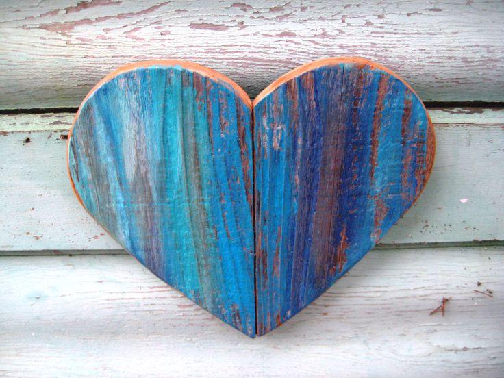 Salvaged Wood Hearts,Blue Wood Heart,Rustic Wooden Heart,Boho Heart,Nursery Decor,Baby Boy,Heart Decor,Wood Wall Art,Wood Anniversary Gift by BlackCrowCurios on Etsy https://www.etsy.com/listing/490804773/salvaged-wood-heartsblue-wood