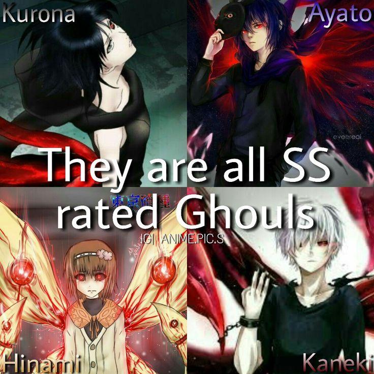 Anime: tokyo ghoul Characters: kurona,ayato kirishima,hinami,ken kaneki