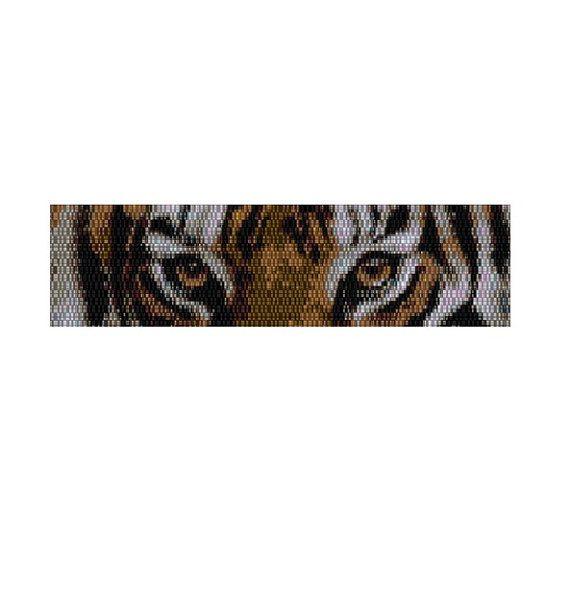 Occhi di tigre modello bracciale peyote di KarenBrunsDesigns
