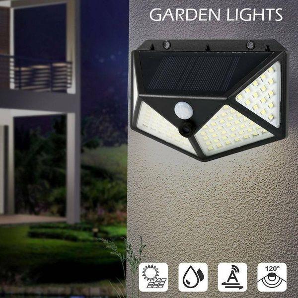 1//2//4x 100 LED Solar PIR Motion Sensor Wall Light Outdoor Garden Lamp Waterproof