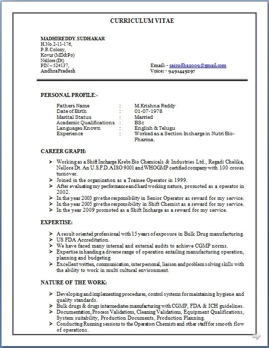 Resume Sample Of B Sc Professional With 15 Years Of Exposure In Bulk Drug Manufacturing Get Job Today In 2020 Resume Sample Resume Problem Solving Skills