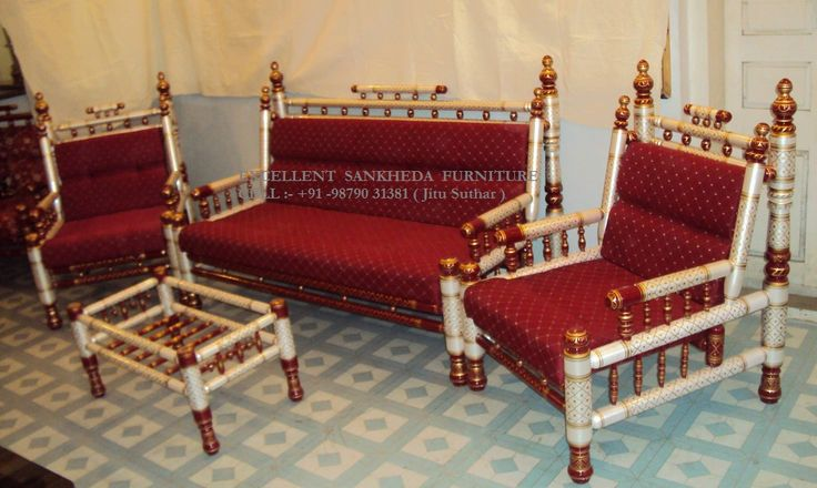Royal Sofa Set ( pearl white & red )