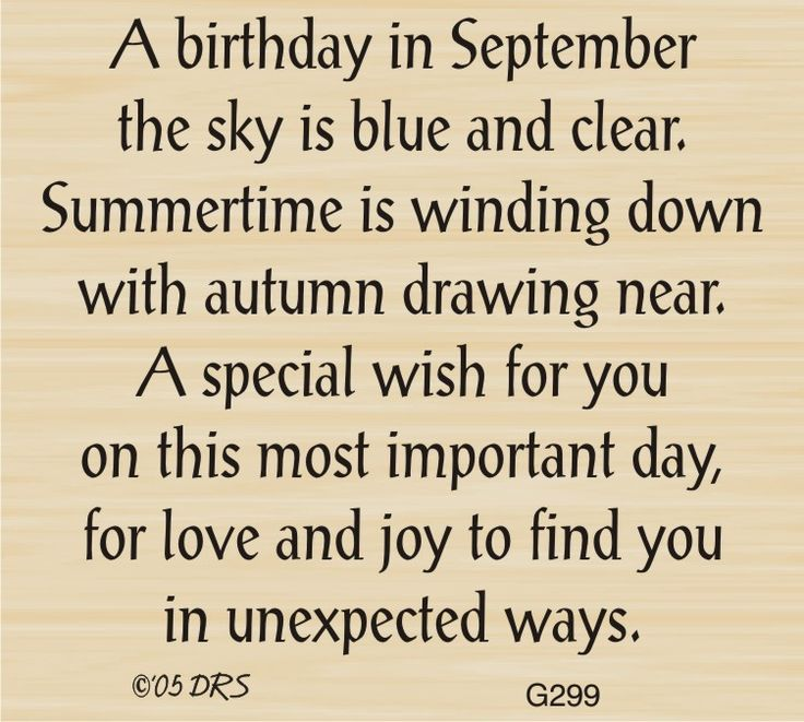 Good September Birthday Greeting   299G