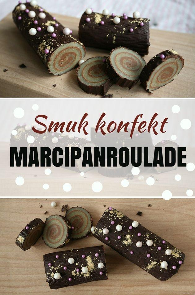 Super smuk marcipanroulade, der ovenikøbet er utrolig nem at lave. Den kan pyntes lige efter din egen smag.