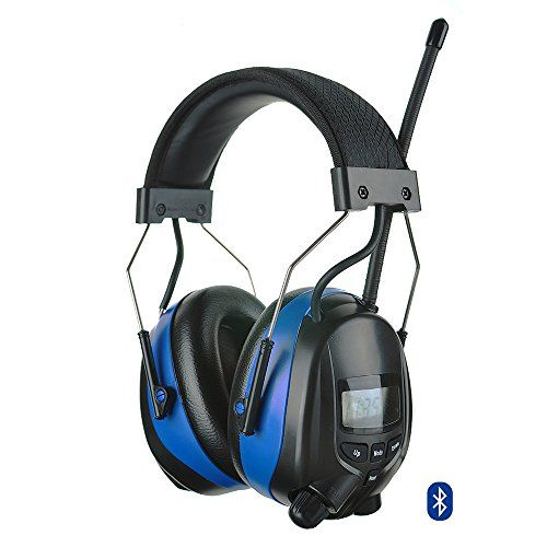 Protear Bluetooth FM/AM Radio Safety Earmuffs Electronic Noise Reduction Audio Ear Defenders Hearing Protector Working Mowing Ear Protection Headphones-Phone/MP3 Stereo Jack-Height adjustable-NRR 25dB  Built-in Digital Bluetooth & FM/AM radio and MP3 Compatible,come with standard stereo jack cable for phone, mp3 player, hands-free calling  Digital AM/FM tuning with LCD display automatically searches for radio stations  Hi-fidelity Digital Stereo Radio Reception, 8 pre-set stations and ...