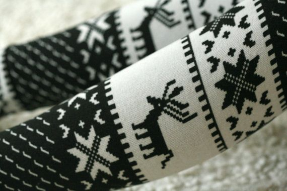 Balck and white nordic print over knee leg warmers with by DGstyle, $15.00