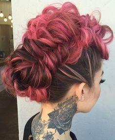 pastel pink braided mohawk updo